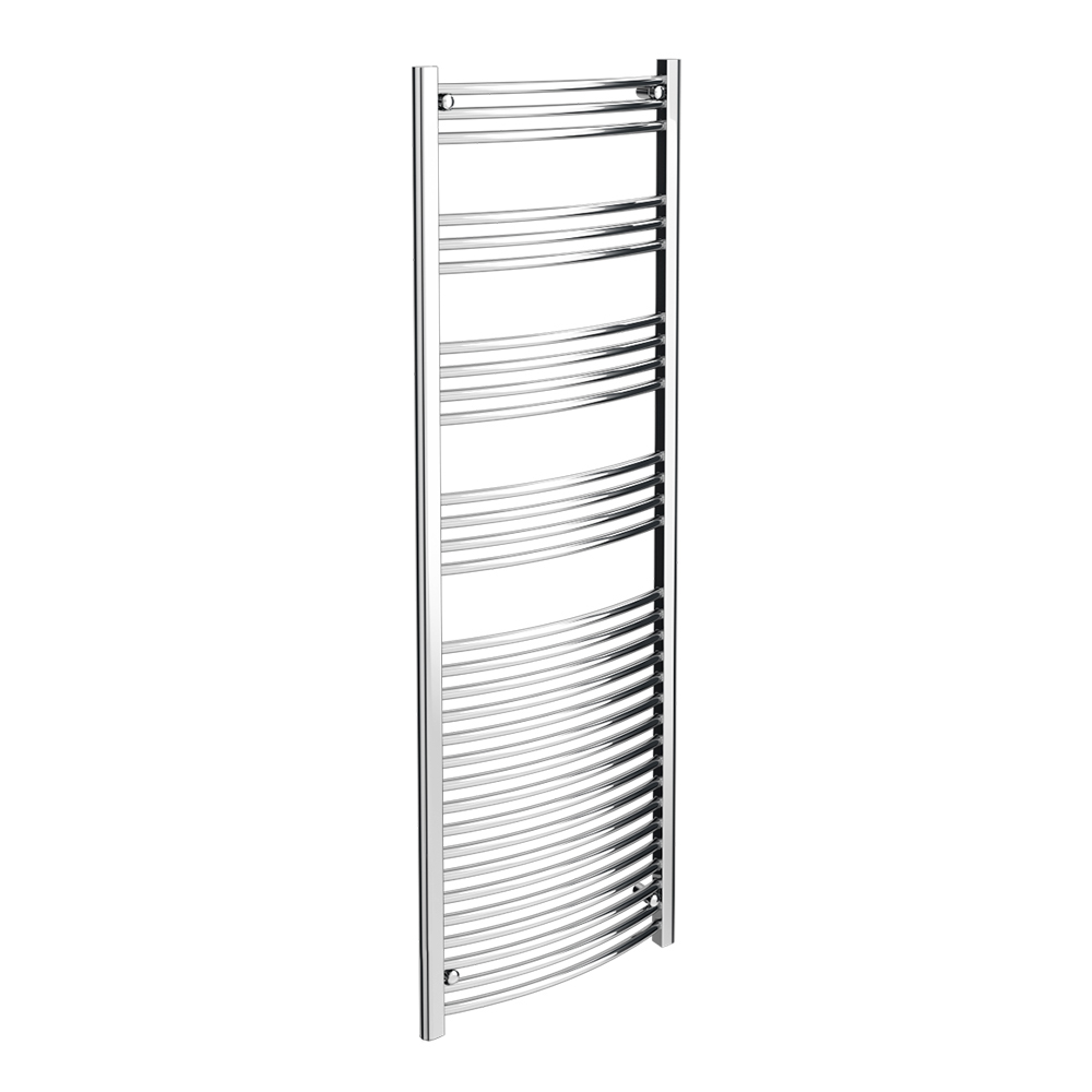 Diamond Curved Heated Towel Rail - W600 x H1800mm - Chrome Large Image