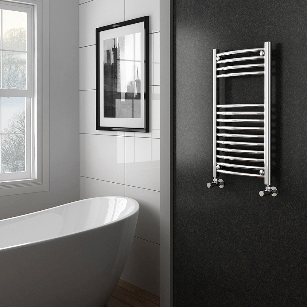 Diamond Curved Heated Towel Rail - W600 x H800mm - Chrome profile large image view 2