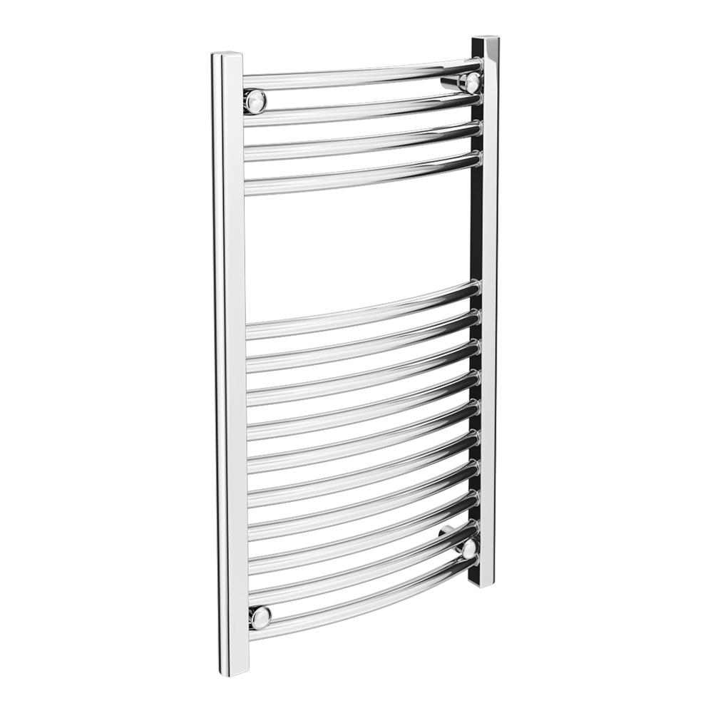 Diamond Curved Heated Towel Rail - W600 x H800mm - Chrome Large Image