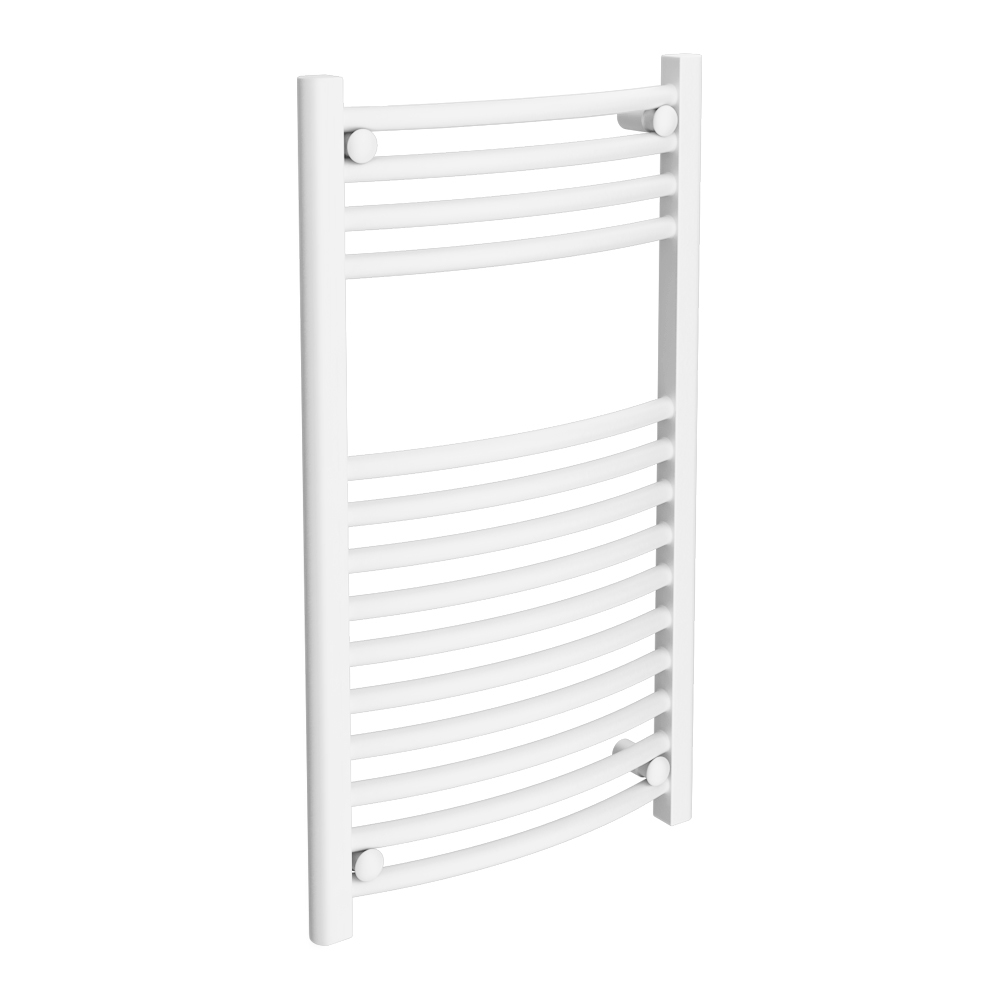 Diamond Curved Heated Towel Rail - W600 x H800mm - White Large Image