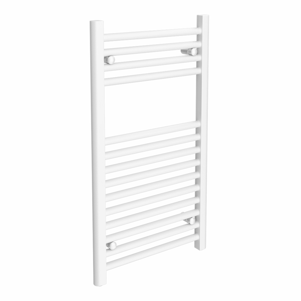 Diamond Heated Towel Rail - W300 x H800mm - White - Straight Large Image