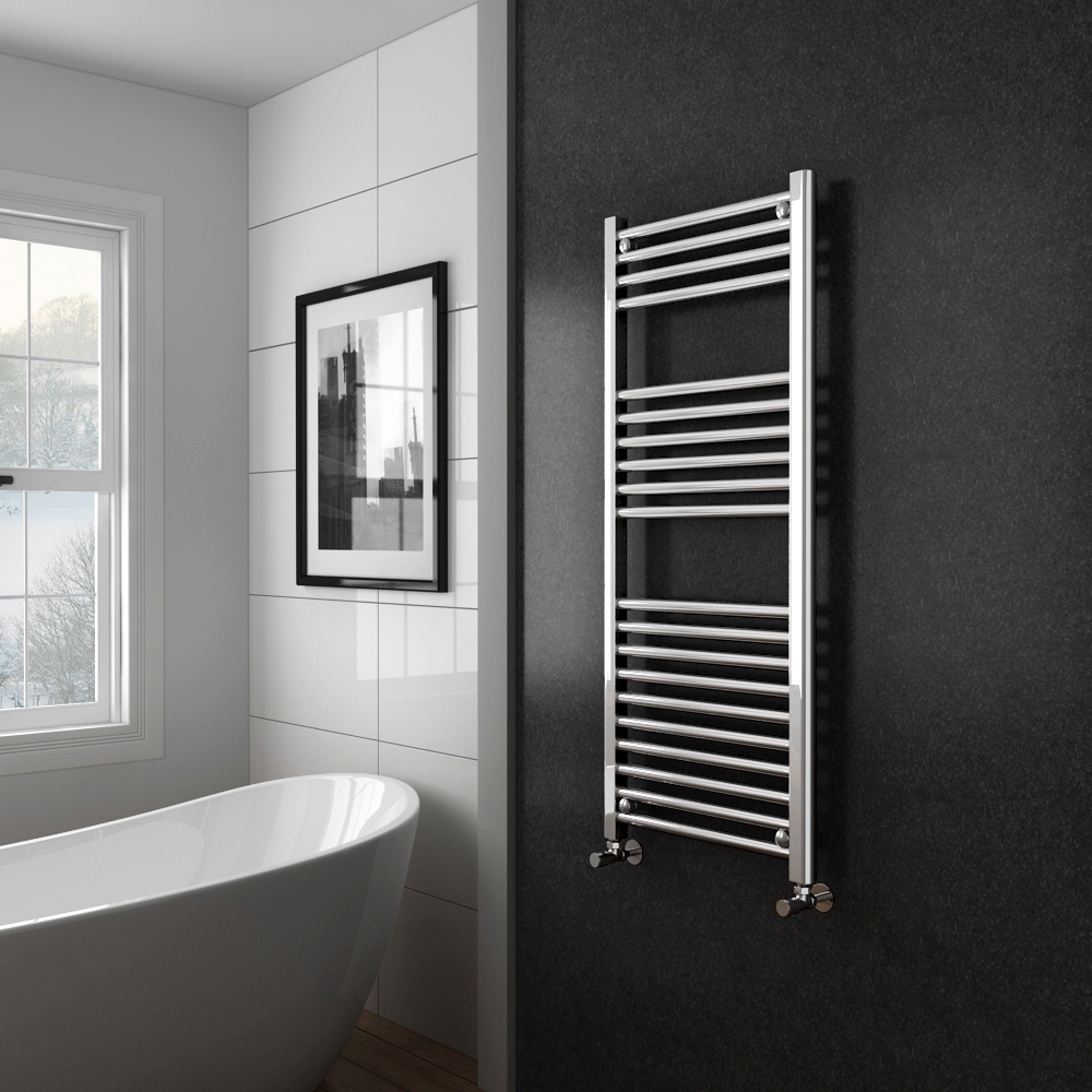 Diamond Heated Towel Rail - W500 x H1200mm - Chrome - Straight | Victorian Plumbing