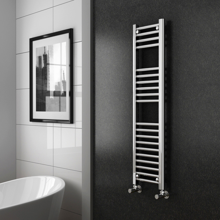 Diamond Heated Towel Rail - W300 x H1200mm - Chrome - Straight profile large image view 2