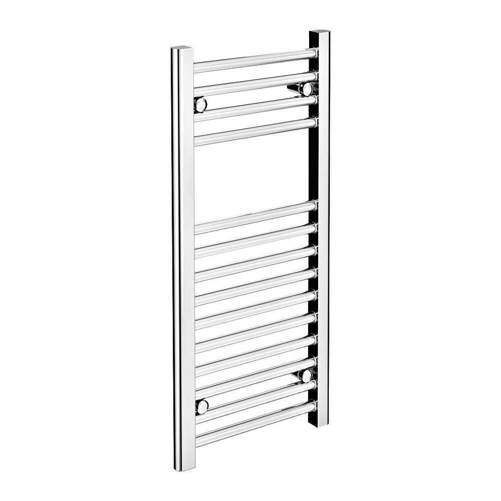 Diamond Heated Towel Rail - W300 x H800mm - Chrome - Straight Large Image