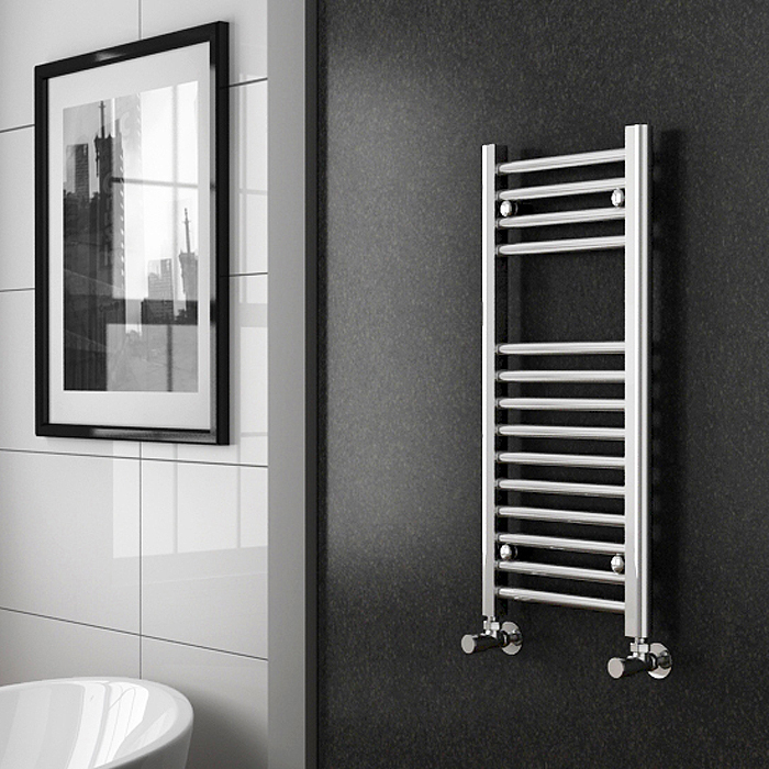 Diamond Heated Towel Rail - W300 x H800mm - Chrome - Straight profile large image view 2