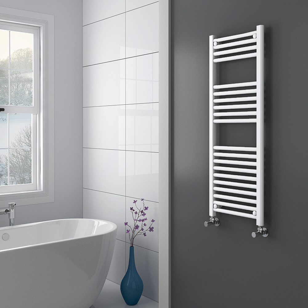 Diamond Heated Towel Rail - W400 x H1200mm - White - Straight profile large image view 2