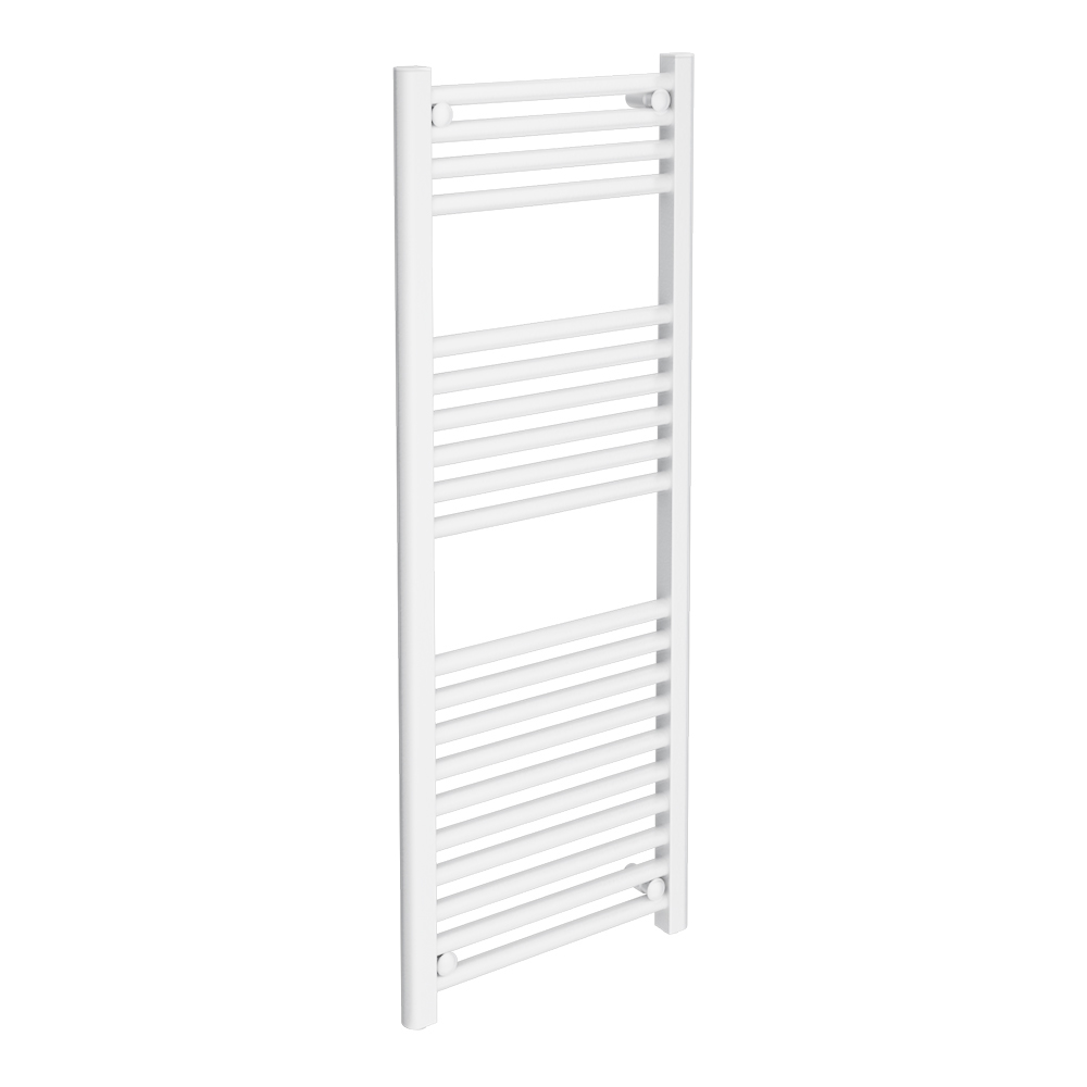 Diamond Heated Towel Rail - W400 x H1200mm - White - Straight Large Image