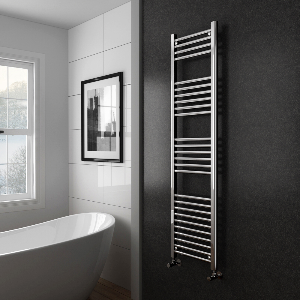 Diamond Heated Towel Rail - 400mm x 1600mm - Chrome - Straight profile large image view 2