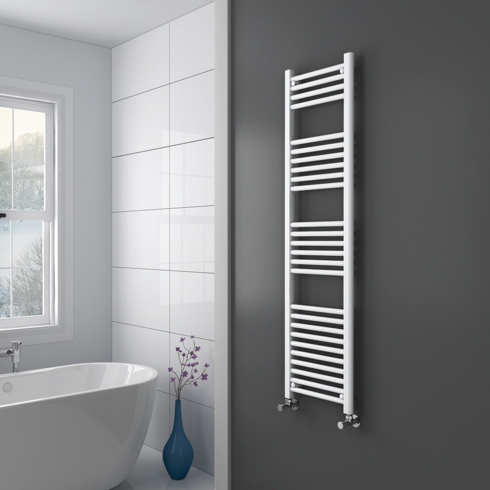 Diamond Heated Towel Rail - W400 x H1600mm - White - Straight  Profile Large Image