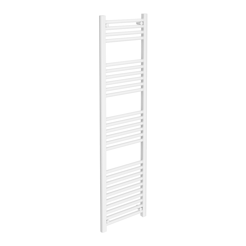 Diamond Heated Towel Rail - W400 x H1600mm - White - Straight Large Image