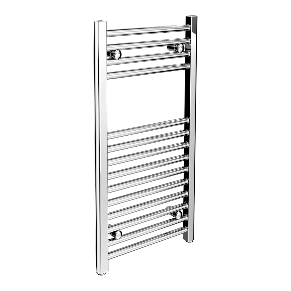 Diamond Heated Towel Rail - W400mm x H800mm - Chrome - Straight