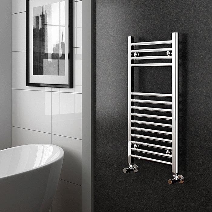 Diamond Heated Towel Rail - W400mm x H800mm - Chrome - Straight profile large image view 2