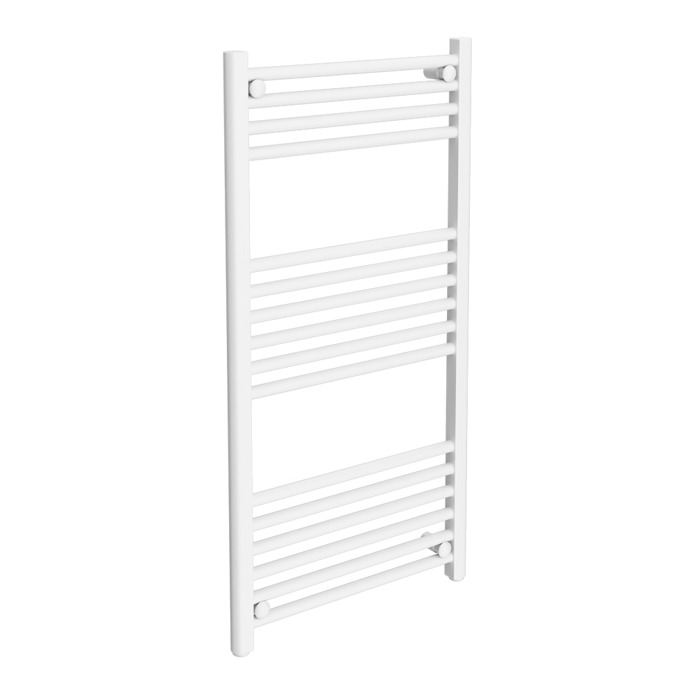 Diamond Heated Towel Rail - W500 x H1000mm - White - Straight Large Image