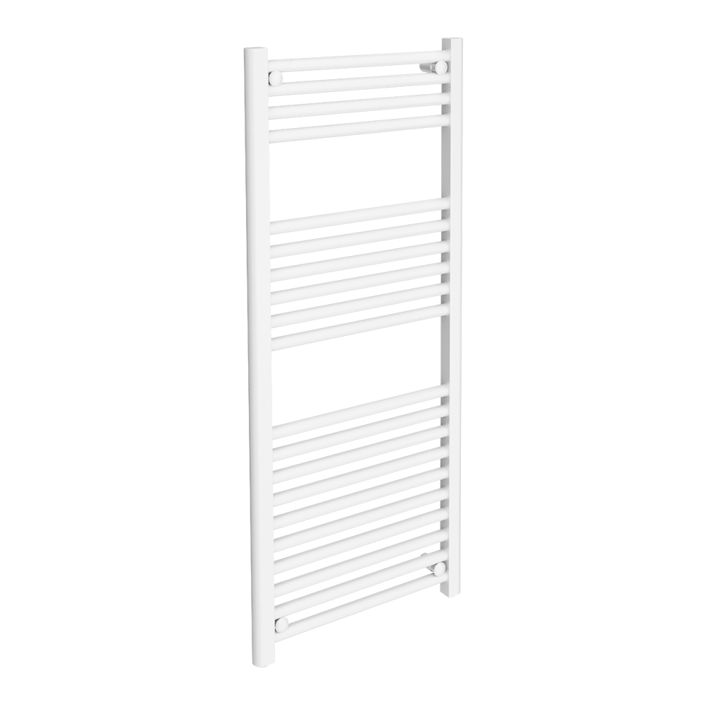 Diamond Heated Towel Rail - W500 x H1200mm - White - Straight Large Image
