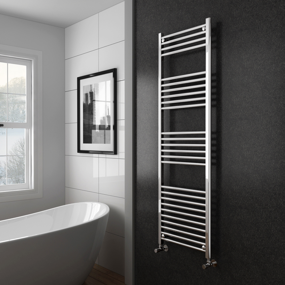 Diamond Heated Towel Rail - W500 x H1600mm - Chrome - Straight profile large image view 2
