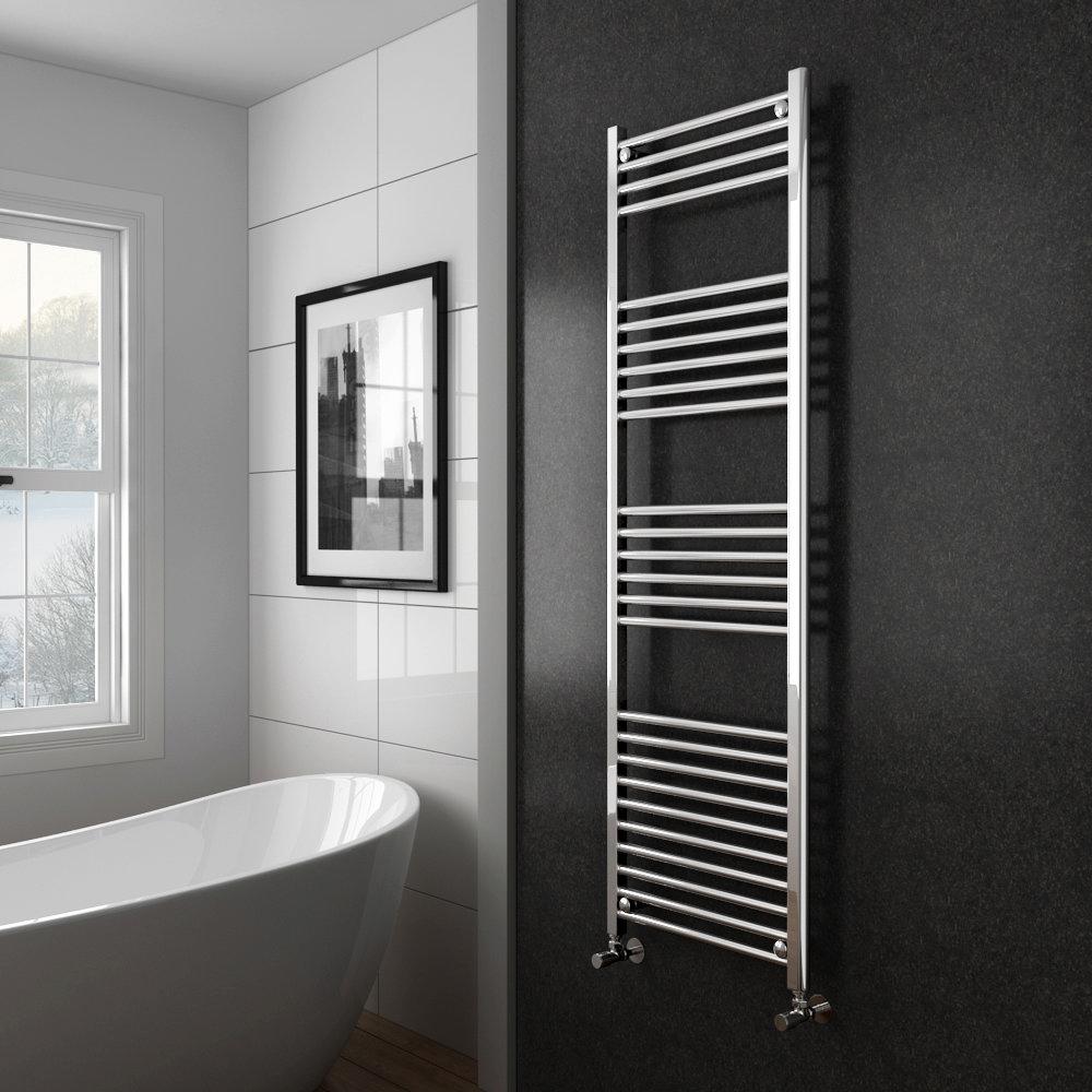 Diamond Heated Towel Rail - W500 x H1600mm - Chrome - Straight Profile Large Image