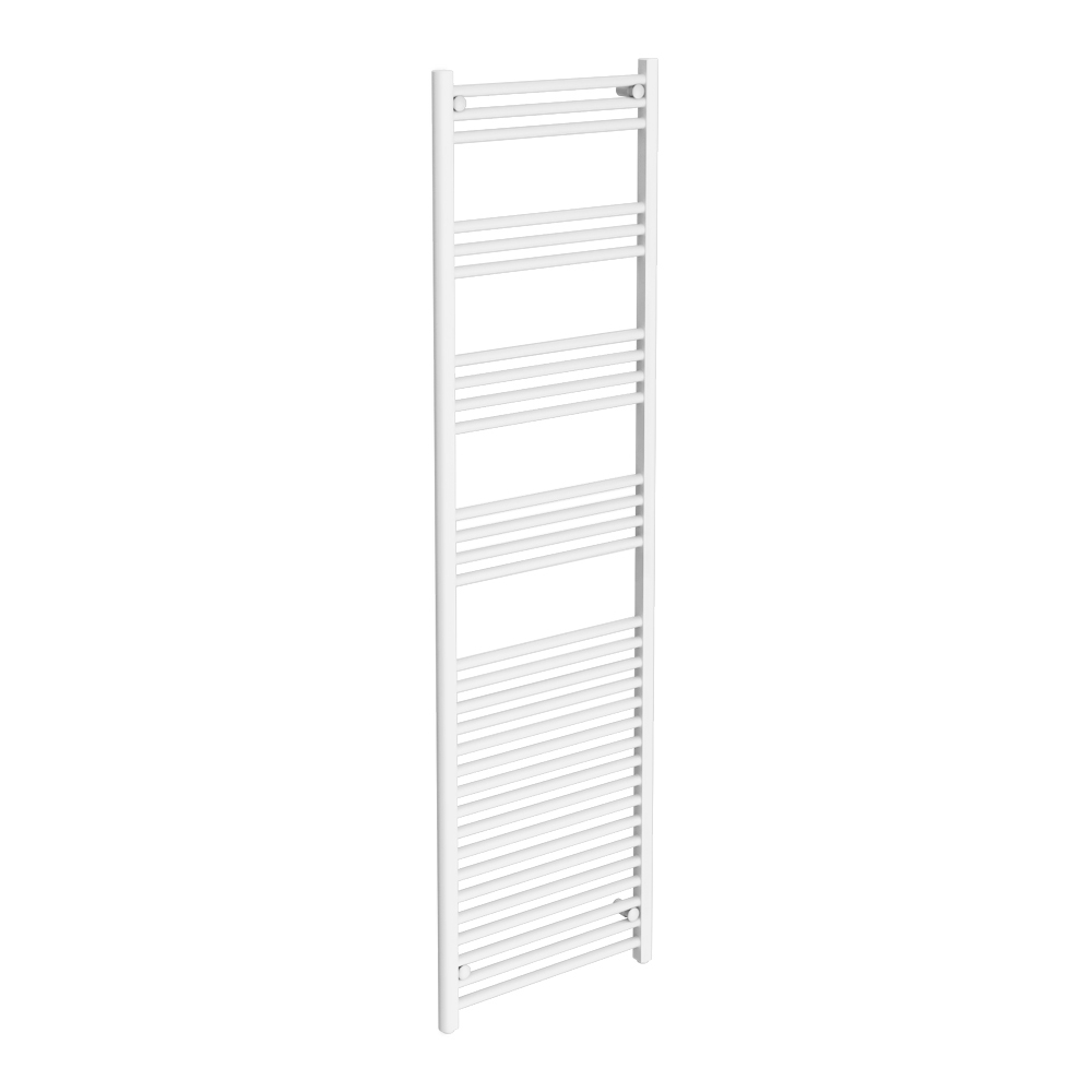 Diamond Heated Towel Rail - W500 x H1800mm - White - Straight Large Image