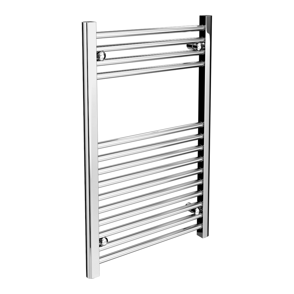 Diamond Heated Towel Rail - W500 x H800mm - Chrome - Straight profile large image view 1