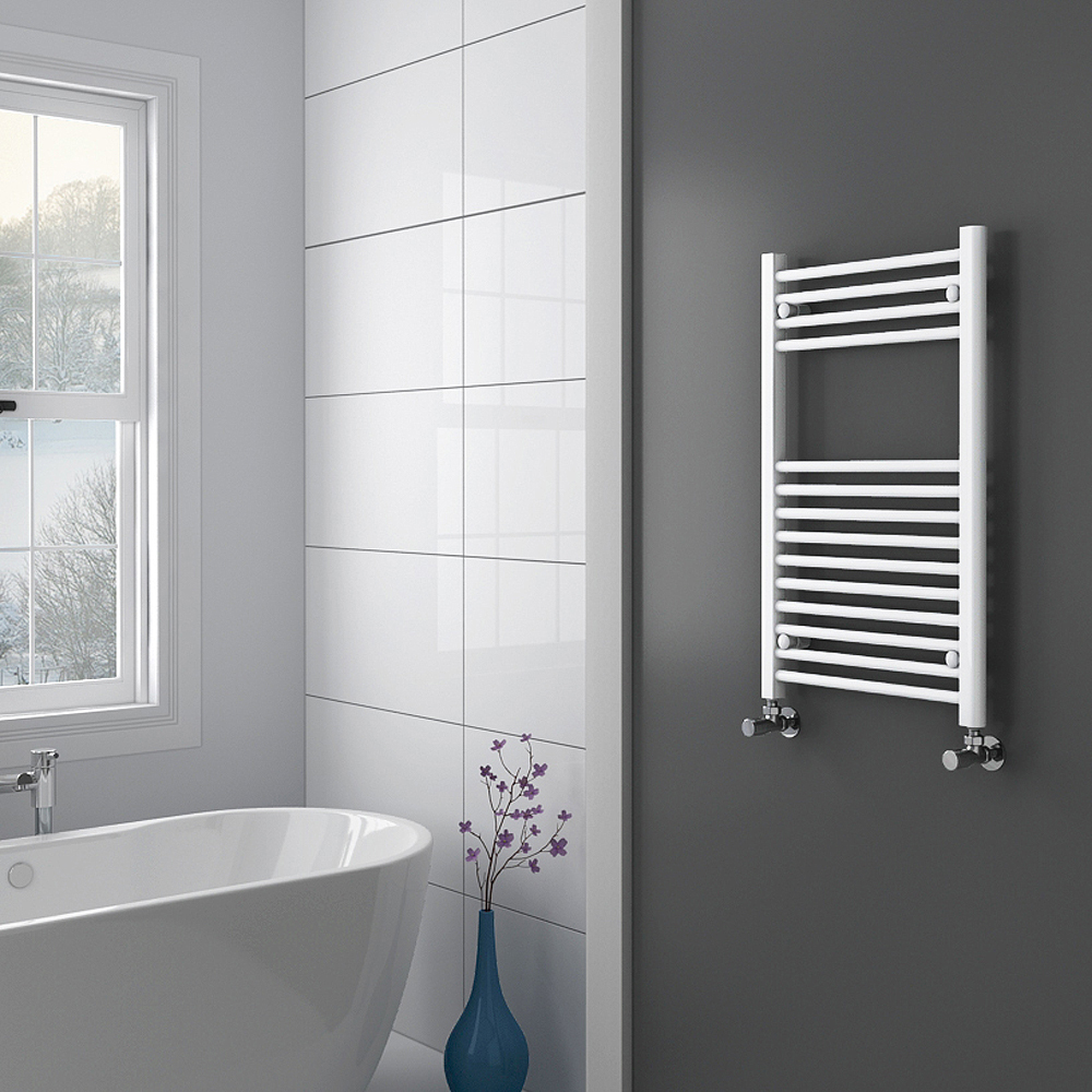 Diamond Heated Towel Rail - W500 x H800mm - White - Straight Profile Large Image