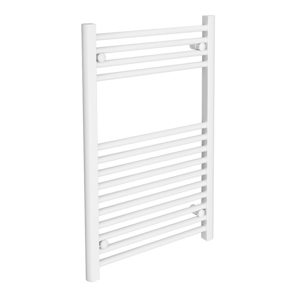 Diamond Heated Towel Rail - W500 x H800mm - White - Straight profile large image view 1