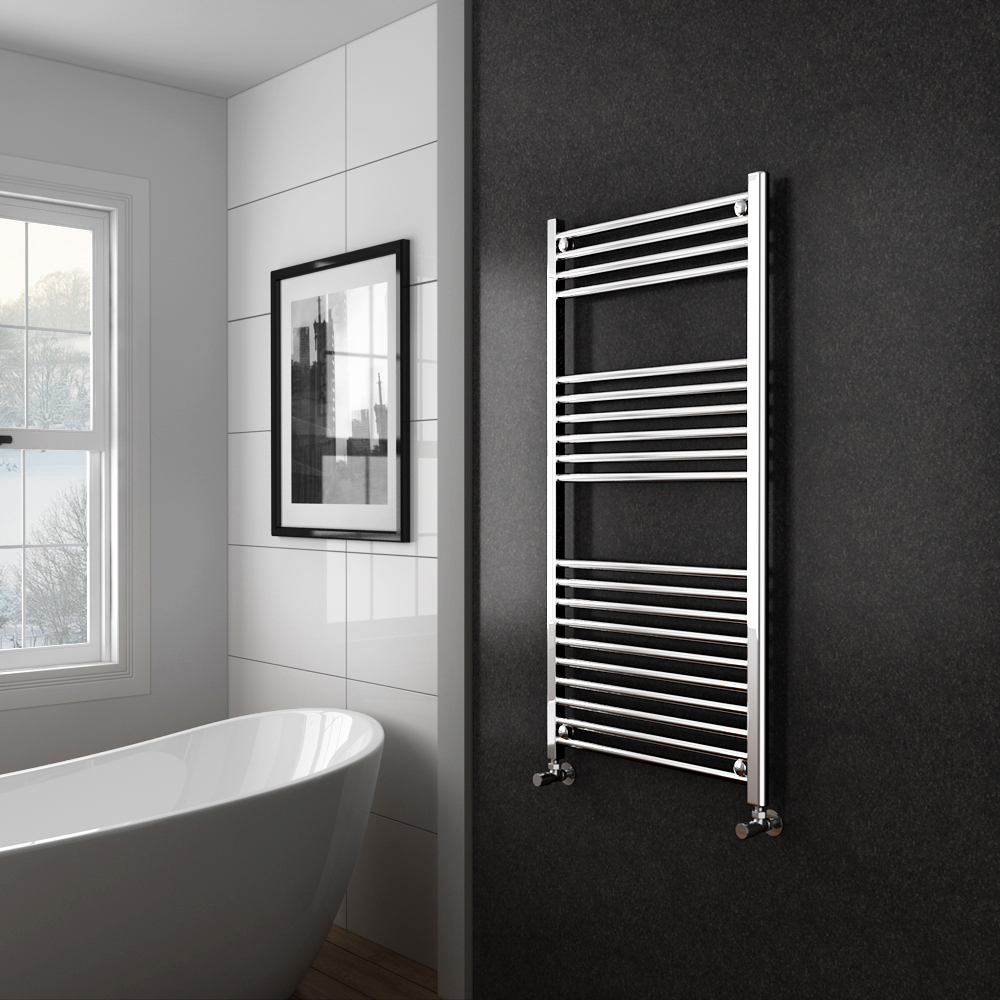 Diamond Heated Towel Rail - 600mm x 1200mm - Chrome - Straight profile large image view 2