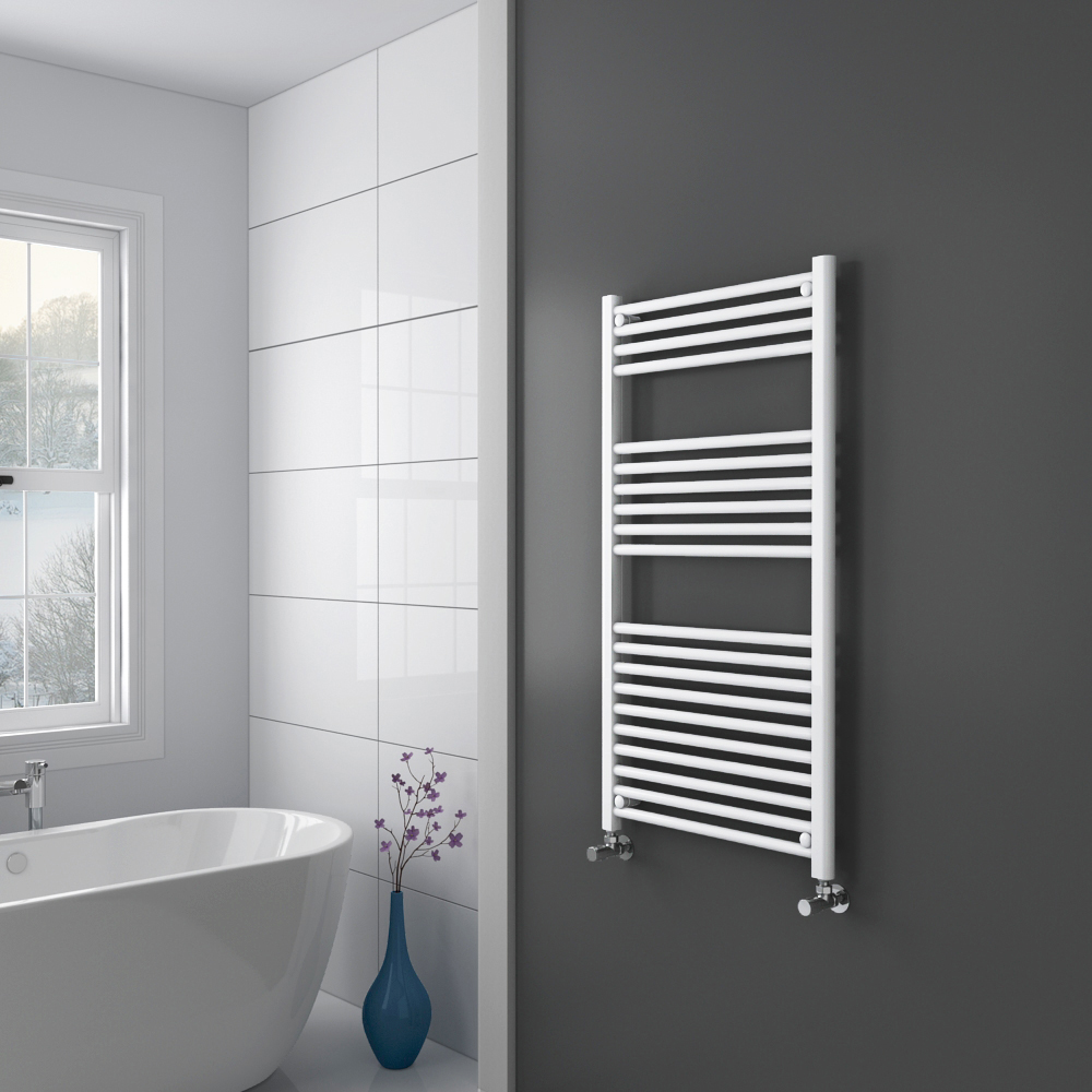 Diamond Heated Towel Rail - W600 x H1200mm - White - Straight profile large image view 2