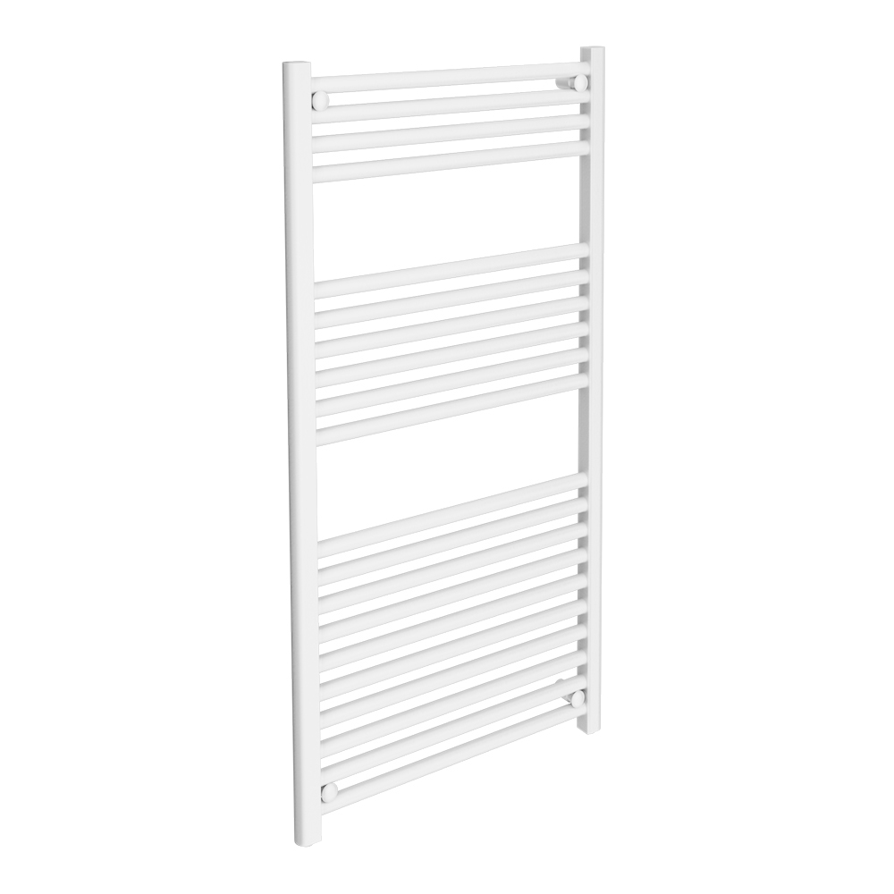 Diamond Heated Towel Rail - W600 x H1200mm - White - Straight Large Image