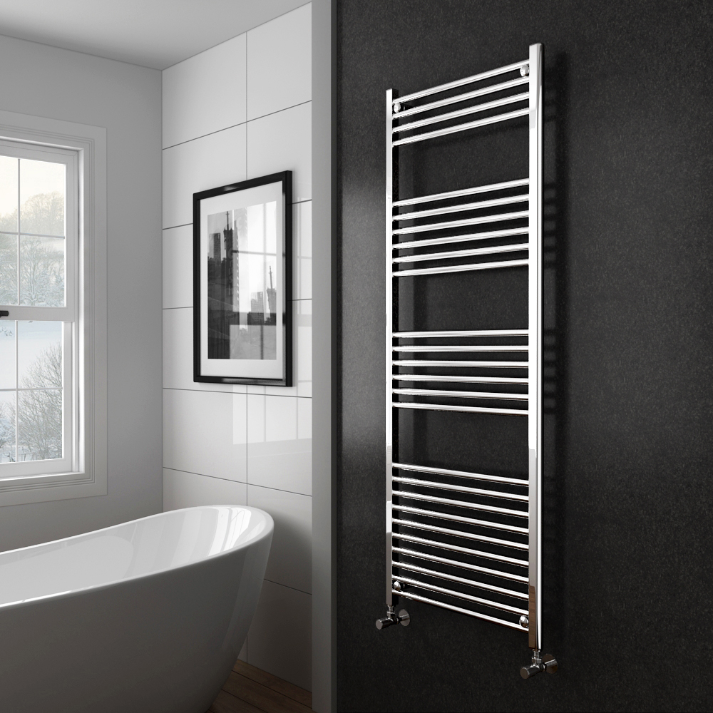 Diamond Heated Towel Rail - 600mm x 1600mm - Chrome - Straight profile large image view 2