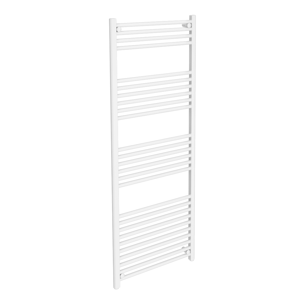Diamond Heated Towel Rail - W600 x H1600mm - White - Straight Large Image
