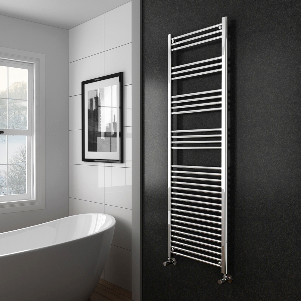 Diamond Heated Towel Rail - W600 x H1800mm - Chrome - Straight profile large image view 2