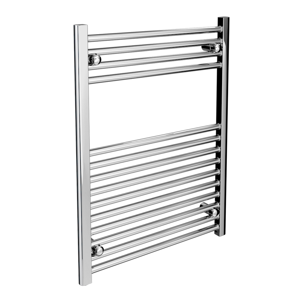 Diamond Heated Towel Rail - W600 x H800mm - Chrome - Straight Large Image