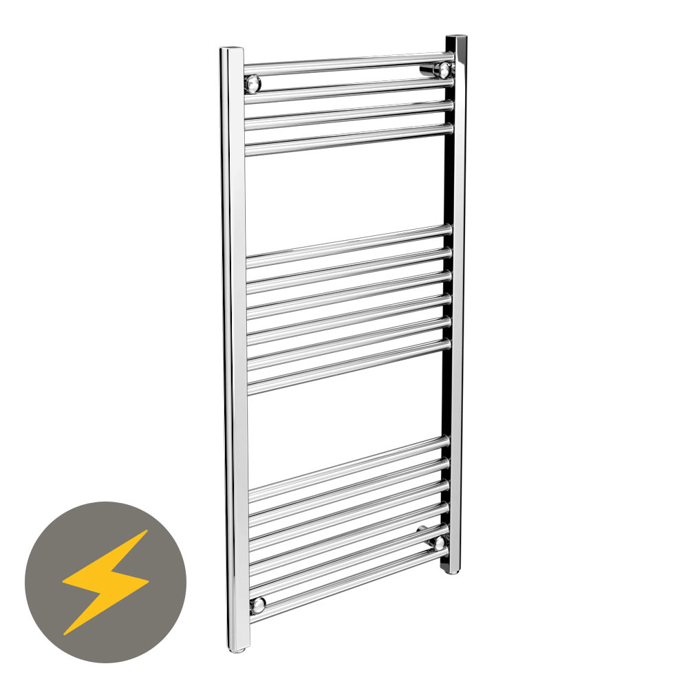 Diamond Straight Electric Heated Towel Rail - W500 x H1000mm - Chrome profile large image view 1