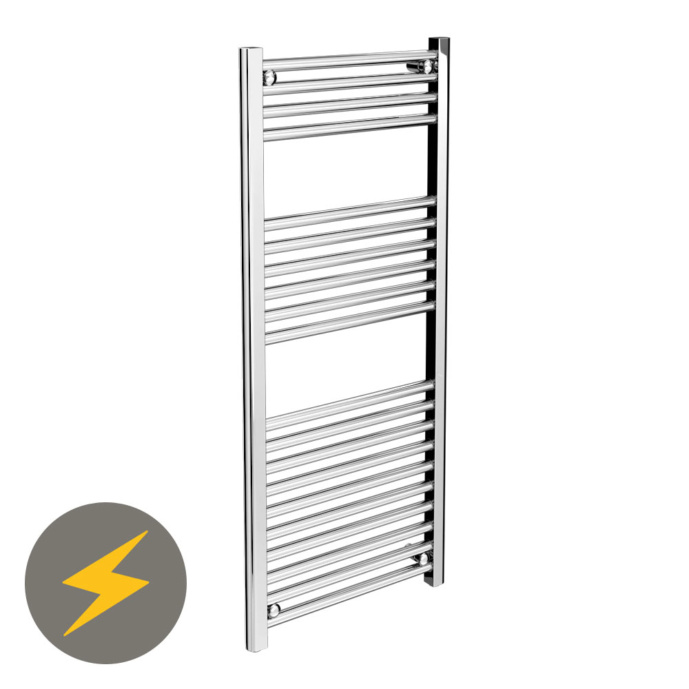 Diamond Straight Heated Electric Towel Rail - W500 x H1200mm - Chrome profile large image view 1