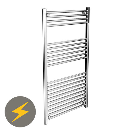 Diamond Straight Heated Electric Towel Rail - W600 x H1200mm - Chrome