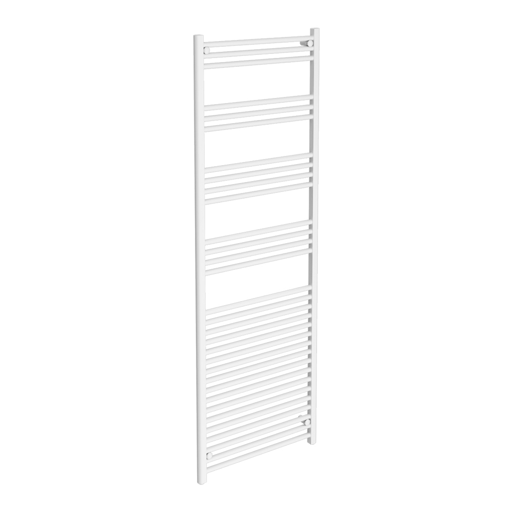 Diamond Heated Towel Rail - W600 x H1800mm - White - Straight Large Image