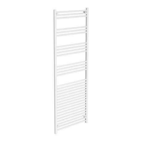 Diamond Heated Towel Rail - W600 x H1800mm - White - Straight