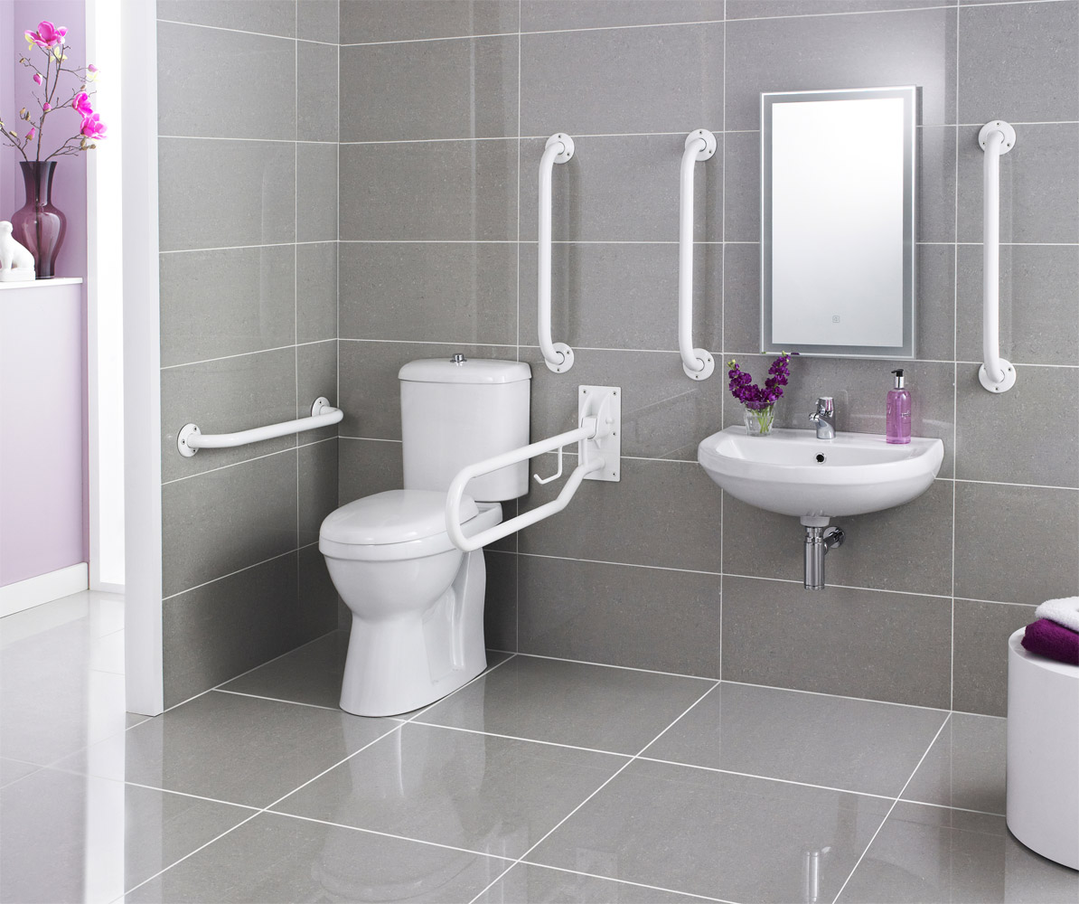Premier Doc M Pack Disabled Bathroom Toilet Basin And Grab - Bathroom toilet handles