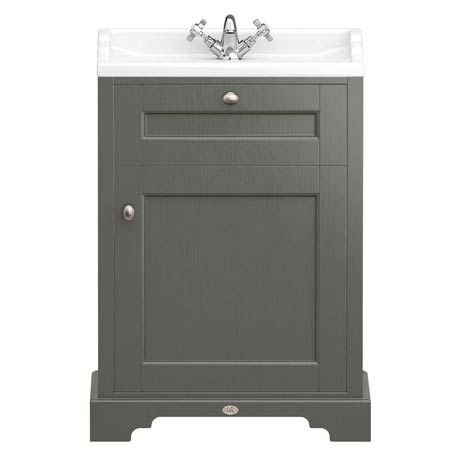 Downton Abbey Traditional Vanity Unit (600mm Wide - Charcoal)