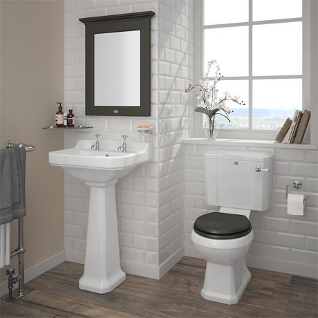 Downton Abbey Carlton Close Coupled Traditional Bathroom Suite - Charcoal