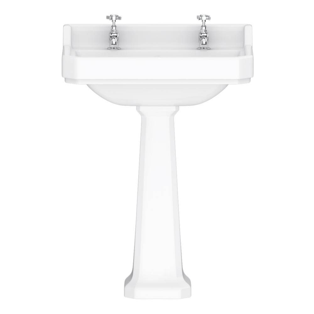 Downton Abbey Carlton Traditional Basin & Pedestal - 595mm Wide profile large image view 1
