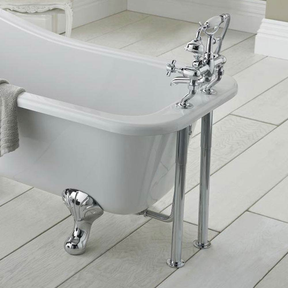 Downton Abbey Chrome Bath Legs with Adjustable Shrouds profile large image view 2