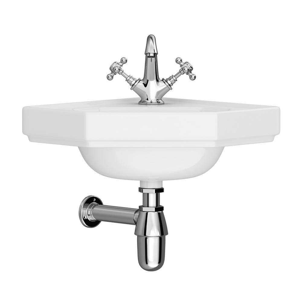 Downton Abbey Corner Cloakroom Basin - 1 Tap Hole Large Image