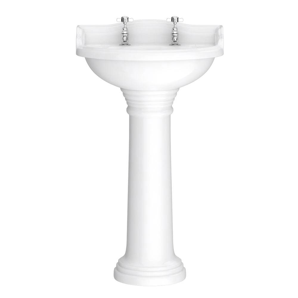 Downton Abbey Ryther Traditional Basin & Pedestal - 500mm Wide Large Image
