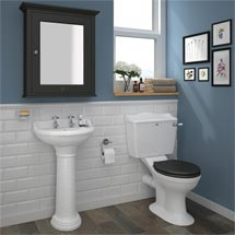 Downton Abbey Ryther Close Coupled Traditional Bathroom Suite - Charcoal Medium Image