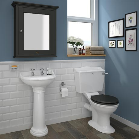 Downton Abbey Ryther Close Coupled Traditional Bathroom Suite - Charcoal