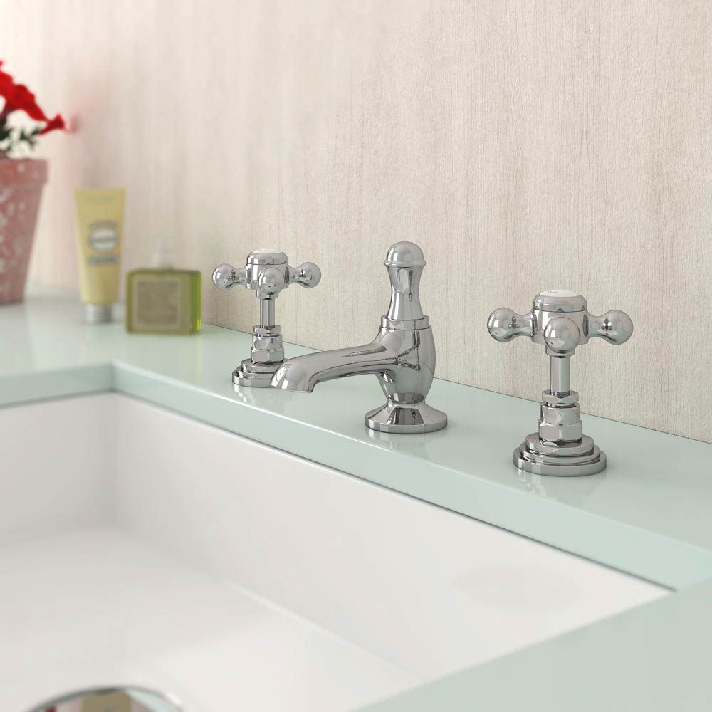 Downton Abbey Traditional 3 Tap Hole Basin Mixer Tap inc Pop-Up Waste Feature Large Image