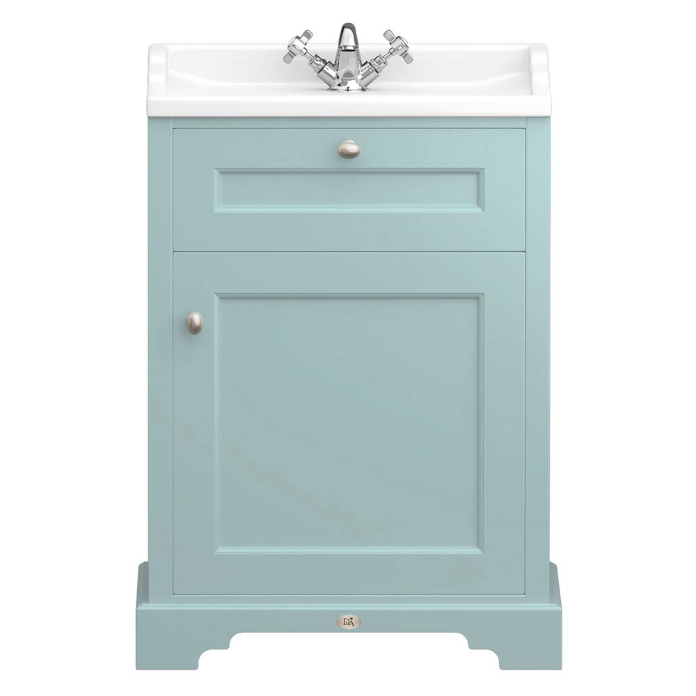 Downton Abbey Traditional Vanity Unit (600mm Wide - Duck Egg Blue) Large Image