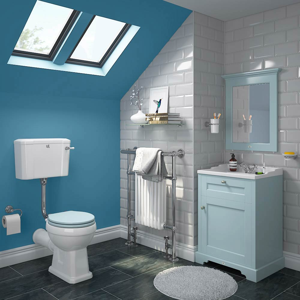 Downton Abbey Traditional Vanity Unit (600mm Wide - Duck Egg Blue) profile large image view 3