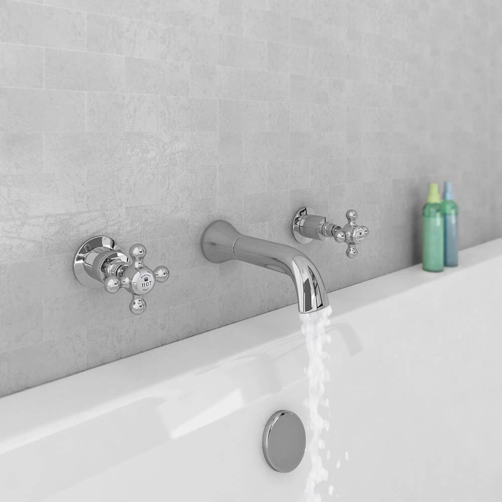 Downton Abbey Traditional Wall Mounted Bath Filler Tap - Chrome profile large image view 3