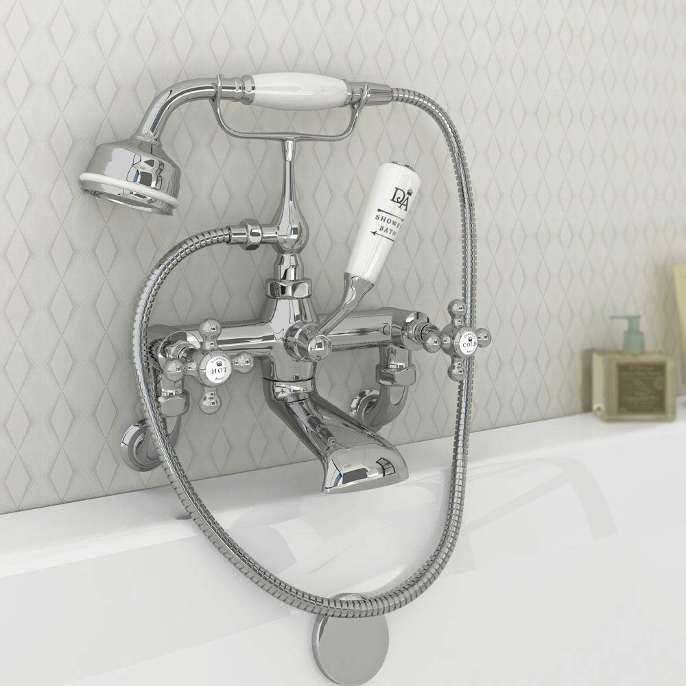 Downton Abbey Traditional Bath Shower Mixer Tap - Chrome Feature Large Image